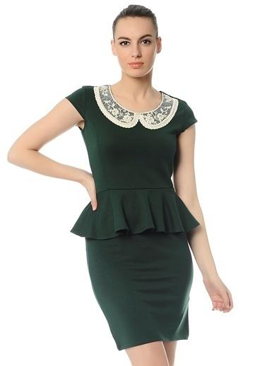 Limon Company Volanlı Dar Mini Elbise Yeşil